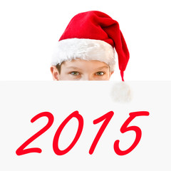 2015 Young boy in red Santa hat