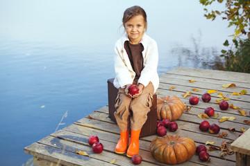 Cute child in autumn