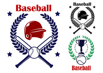 Three Baseball emblems or badges
