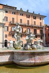 Piękna fontanna del Moro na Piazza Navona w Rzymie, Włochy