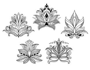 Vintage floral paisley elements