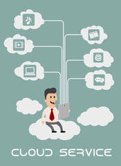 Businessman enjoying cloud computing