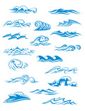 Ocean or sea waves, surf and splashes set - 71442143