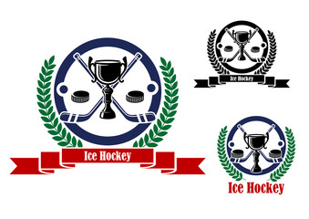 Ice Hockey emblems with trophy and wreath