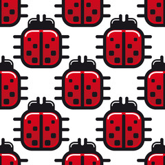Stylized red ladybug seamless pattern