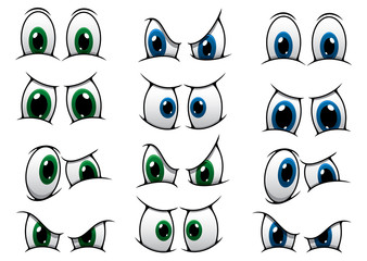 Set of cartoon eyes showing various expression