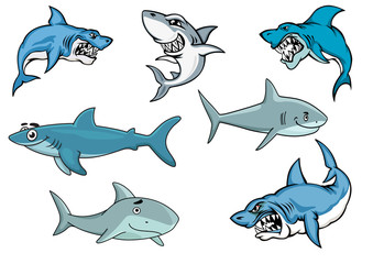 Cartoon sharks with various expressions