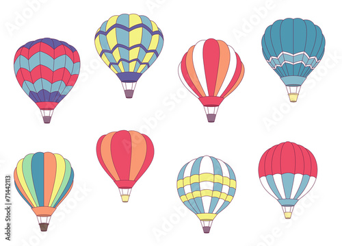 Set of colored hot air balloons