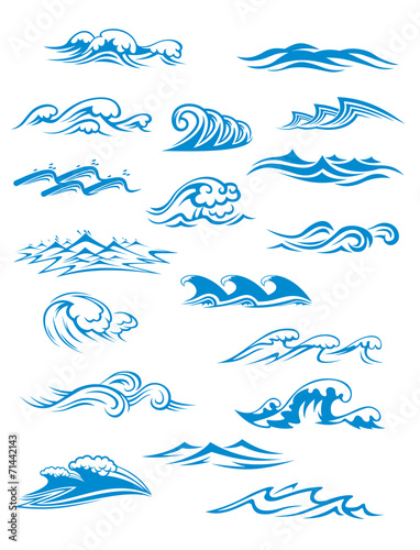 Ocean or sea waves, surf and splashes set © Vector Tradition