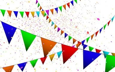 Gekleurde vlaggetjes en confetti feest