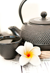 Green tea - Black iron asian teapot