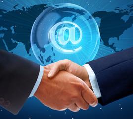 Global handshake on wireless digital background