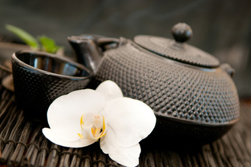 Black iron asian teapot with orchid