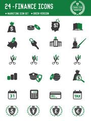 24 Financial icons on white background