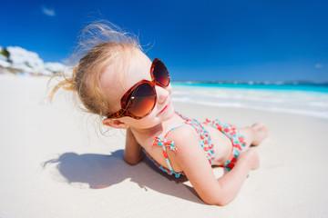 Little girl on a beach vacation