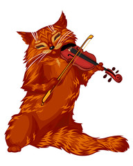 Cartoon cat violinist