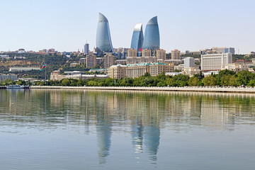 View from Caspian Sea on Flame Towers skyscrapers in Baku
