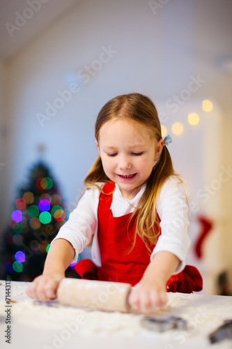 canvas print picture Girl baking Christmas cookies