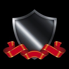 Medieval shield and red ribbon.