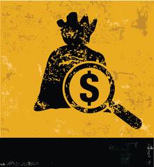 Money symbol on grunge yellow background,grunge vector