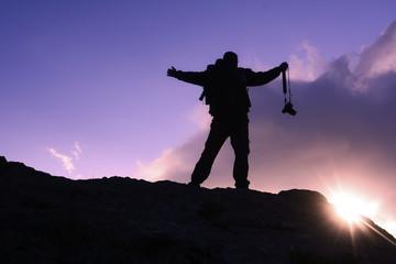 çılgın dağcı ve fotoğrafçı zirvede