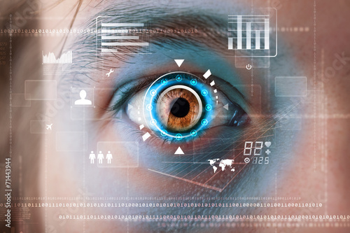 canvas print picture Futuristic modern cyber man with technology screen eye panel