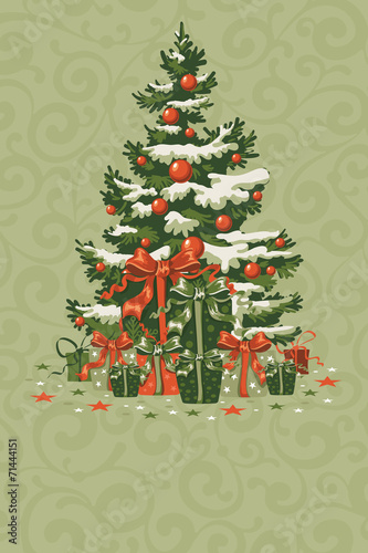 Naklejka Vintage Christmas card