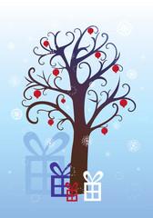 Pomegranate tree, Christmas winter background