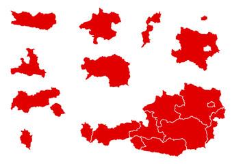 Österreich Landkarte Bundesländer einzeln