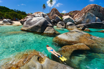 Woman snorkeling at tropical water