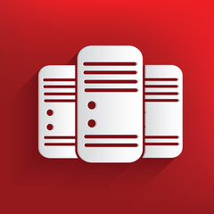 Database symbol on red background,clean vector