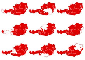 Österreich Landkarte Bundesländer abstrakt
