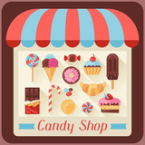Candy shop background with candy, sweets and cakes.