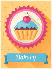 Bakery retro poster background design in flat style.