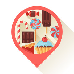Navigation marker with colorful candy, sweets and cakes.
