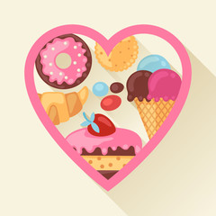 Heart background with colorful candy, sweets and cakes.