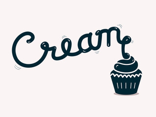 cream lettering with cupcake