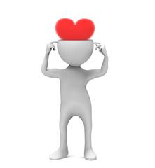 3d man with heart head