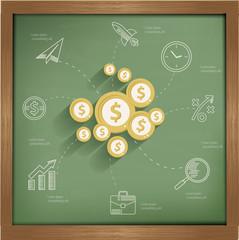 Finance concept design on blackboard background,clean vector