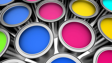 Cans of colorful paint animation, 3D render