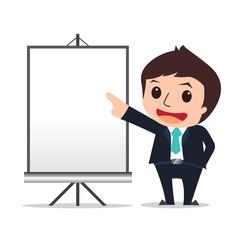businessman presented cartoon eps 10 vector