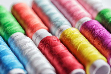Colorful spools of thread.