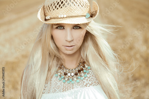 canvas print picture Beautiful, blonde young woman with cowboy hat