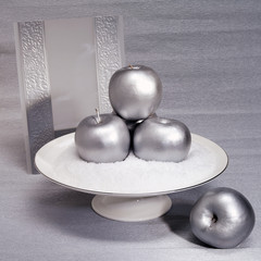 Silver composition. Silver apples and invitation card