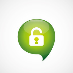 unlock icon green think bubble symbol logo.