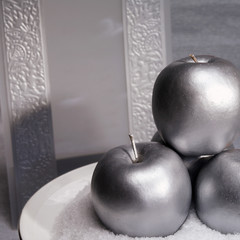 Three silver apples and invitation card