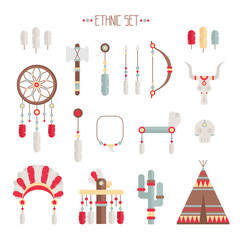 Vector colorful ethnic set with dream catcher, feathers, arrows