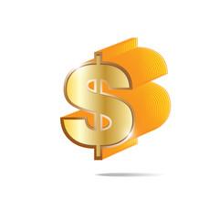 Golden dollar sign on white background eps 10 vector
