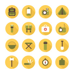Set of flat colorful vector camping equipment symbols and icons