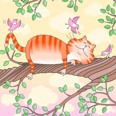 Illustration of a funny cat sleeping on the tree